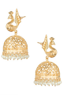 Gold plated dancing peacock jhumki earrings by Digna