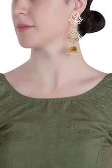 Gold plated long lotus earrings by Digna