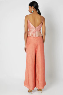 Rose Pink Embroidered Jumpsuit by Dhwaja