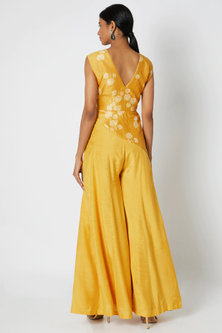 Mustard Yellow Embroidered Peplum Jumpsuit by Dhwaja