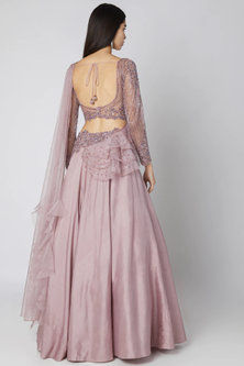 Onion Pink Embroidered Lehenga Saree Set by Dhwaja