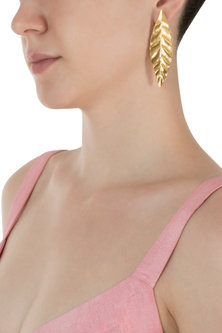 Gold Plated Long Leaf Earrings by Digna