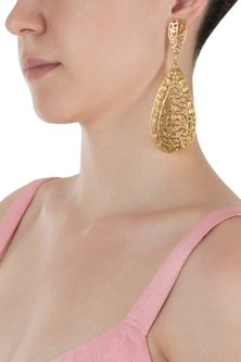 Gold Plated Long Filigree Earrings by Digna