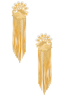 Gold Plated Peacock Earrings by Digna