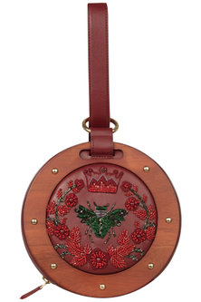 Red Circular Floral Embroidered Clutch by Duet Luxury