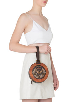 Brown and Orange Circular Embroidered Clutch by Duet Luxury