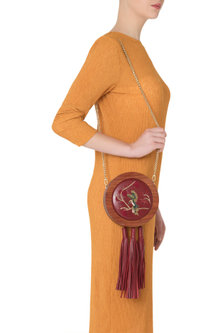 Red Embroidered Multi Tassel Clutch by Duet Luxury