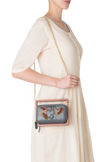 Grey Wood and Leather Embroidered Clutch by Duet Luxury