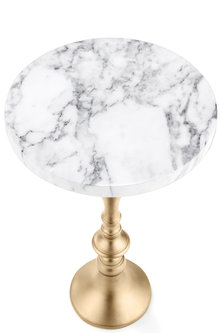 Golden Round Table With White Marble Top by Metl & Wood