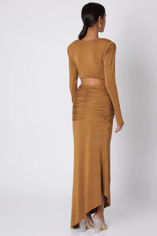 Brown Dress With Cut Outs by Deme by Gabriella