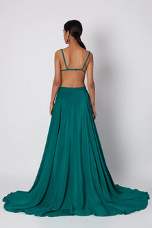 Teal Blue Embroidered Bralet With Skirt by Deme by Gabriella