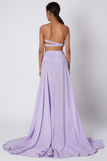 Purple One Shoulder Cut Out Gown by Deme by Gabriella