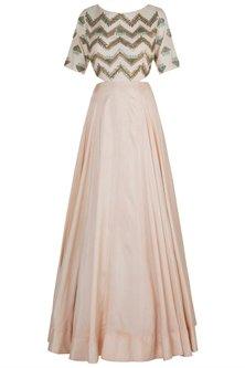 Peach side cut gown by DINESH MALKANI