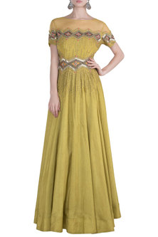Olive zigzag gown by DINESH MALKANI