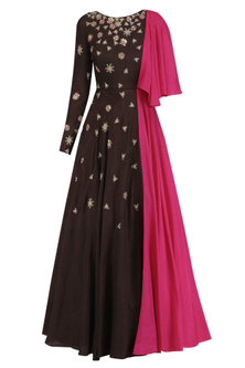 Brown One Shoulder Drape Embroidered Gown by Dinesh Malkani