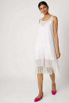 White Dress With Printed Stripes by Dilnaz Karbhary