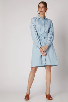 Cobalt Blue Shirt Dress With Belt by DOOR OF MAAI