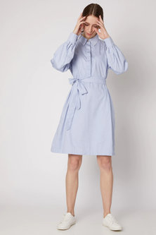 Sky Blue Collared Shirt Dress by DOOR OF MAAI