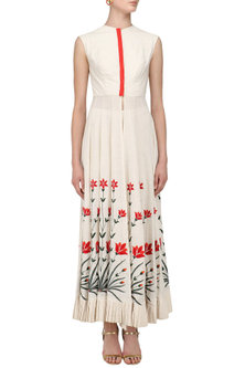 Ivory Floral Embroidered Floor Length Front Open Kalidaar Set by Divya Reddy
