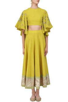 Tuscan Yellow Embroidered Crop Top and Ankle Length Skirt Set by Divya Reddy