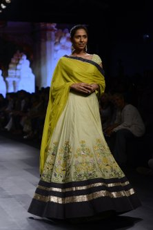 Pista Green and Mustard Floral Embroidered Lehenga Set by Divya Reddy