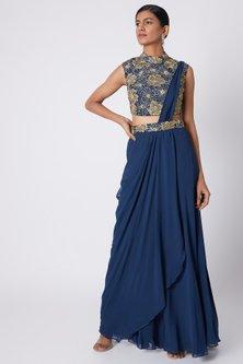 Indigo Blue Embroidered Draped Saree Set by Diya Rajvvir