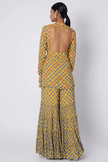Yellow Printed & Embroidered Kurta With Sharara Pants by Diya Rajvvir
