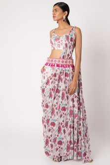 Pink Printed & Embroidered Saree Set by Diya Rajvvir