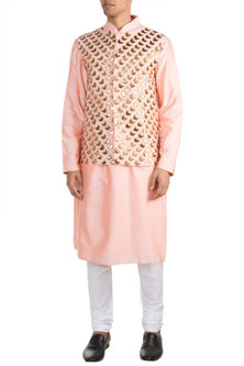 Peach Embroidered Bundi Jacket With Kurta by Diya Rajvvir Men