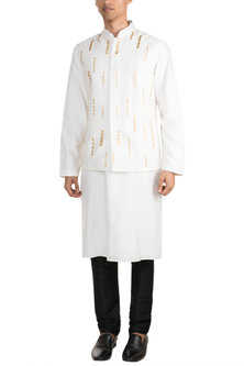 Off White Embroidered Bundi Jacket With Kurta by Diya Rajvvir Men