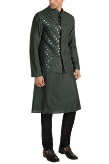 Olive Green Acrylic Embroidered Bundi Jacket With Kurta by Diya Rajvvir Men