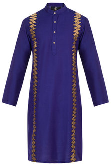 Royal Blue Embroidered Long Kurta by Diya Rajvvir Men