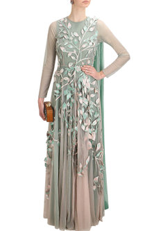 Green ombre leaves embroidered 3D applique work grandeur trail gown by Elysian By Gitanjali