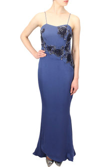 Blue embroidered rose motifs midnight era gown by Elysian By Gitanjali