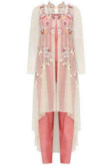 Beige 3D Applique Tassel Beaded Hand Embroidery Jacket With Pink Crop Top And Palazzo Pants Set by Elysian By Gitanjali