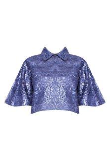 Purple Sequins Embellished Crop Jacket by Elysian By Gitanjali