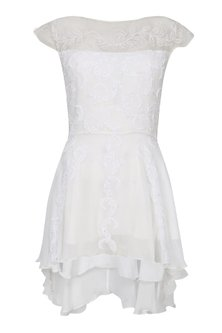 White Beaded Thread Hand Embroidered Peplum Top by Elysian By Gitanjali