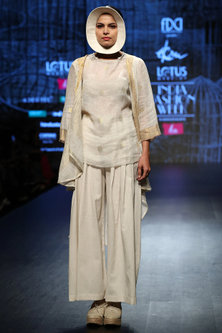 Off White & Gold Jacket With Pants & Inner by Ekru by Ekta and Ruchira