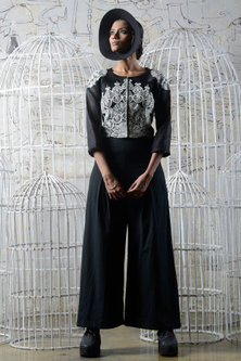 Black & White Khadi Jacket With Pants & Inner by Ekru by Ekta and Ruchira