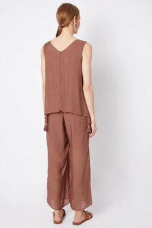 Wine Metallic Embroidered Cape Jumpsuit by EnEch By Nupur Harwani