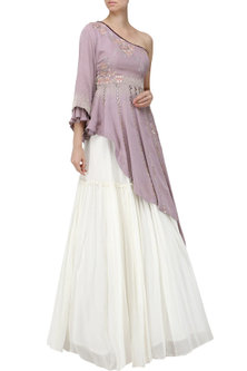 Lavender Embroidered Asymmetrical Peplum Top with Ivory Lehenga Skirt by Ek Soot