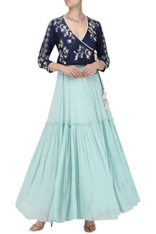 Aqua Blue Tiered Anarkali with Embroidered Jacket by Ek Soot