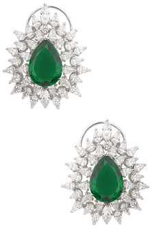 Silver Swarovski Crystal and Green Zircon Stud Earrings by Essense