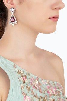 Silver Swarovski and Red Zircon Earrings by Essense