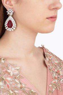 Silver Swarovski and Red Zircon Stone Earrings by Essense