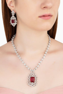 Silver Swarovski and Red Zircon Necklace Set by Essense