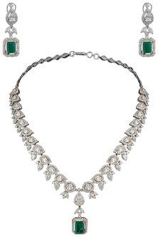Silver Swarovski and Green Zircon Necklace Set by Essense