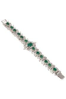 Silver Swarovski and Green Zircons Bracelet by Essense
