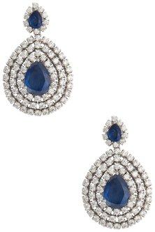 Silver Swarovski and Blue Zircon Dangler Earrings by Essense