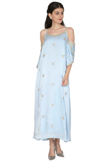 Grey Cold-Shoulder Embroidered Gown by ETIKA SANCHETI